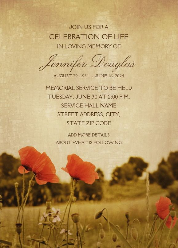 Country Poppy Field Memorial Service Invitations - Vintage rustic style memorial service or funeral invitations that you can order online. Featuring a beautiful Poppy meadow with red poppies. A beautiful typography that is easily customized for celebration the life and in loving memory of your loved one. You can change the text and it's color to your favorite. Order one invitation sample first to see if it's right for your memorial service. Fully customized online. More at http://superdazzle.com