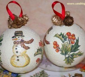 Décorer+des+boules+polystyrène+en+boules+de+Noël