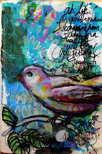 colors - looks like it might be another ink over water color, except for the bird?: Dina Wakely, Mixedmedia, Dina Wakley, Dinawakley, Art Journals, Today 01, Birds, Art Journaling