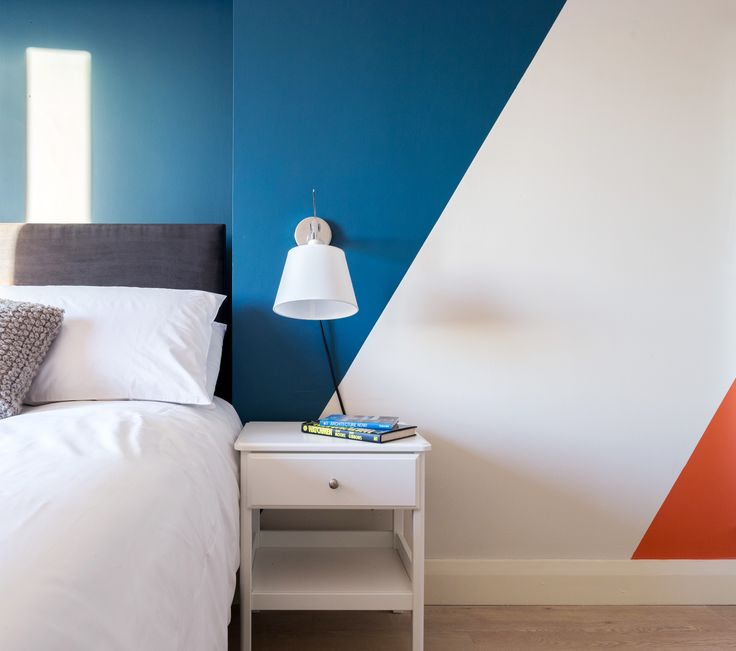Residential - Fit Out - Apartment - Blue - Orange - Pattern - Detail - Nightstand - Double Bed - Millennium Tower, Dublin by Think Contemporary