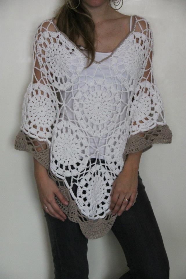 Puntos calados a crochet para ponchos - Imagui