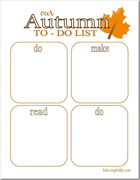 Autumn To Do List–free Printable | Autumn | Pinterest ...