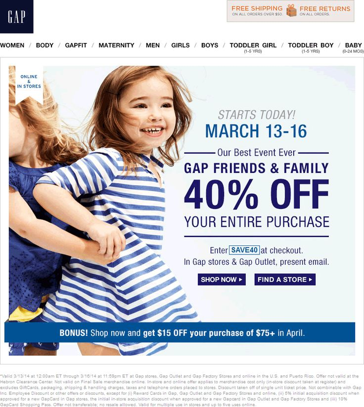 Pinned March 14th: 40% off at #Gap & outlet locations, or online via promo code SAVE40 via The #Coupons App