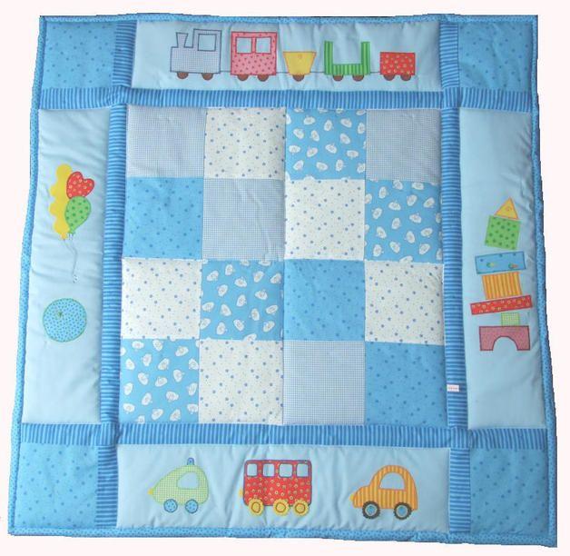 Babydecken - Patchwork-Krabbeldecke 'Blaue Spielwiese' - ein Designerstück von Ohrgesicht bei DaWanda, ca. 0,90 m x 0,90 m ,  129,00