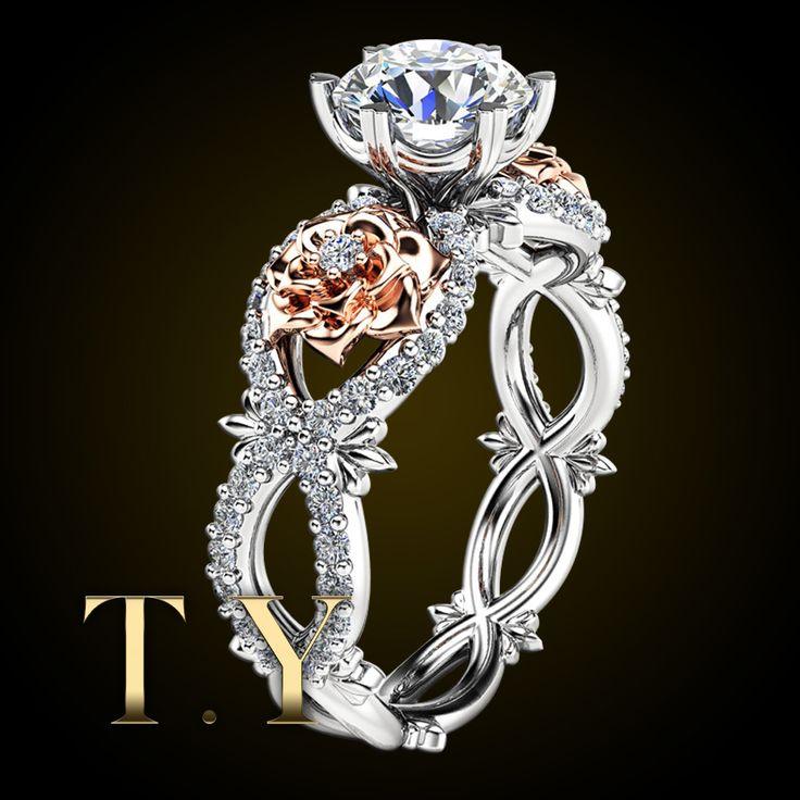 Бриллиантовое обручальное кольцо в 9 К Two Tone уникальный цветок серии кольца имитация вдохновленный кольцо с бриллиантом цветочные кольца для женщин