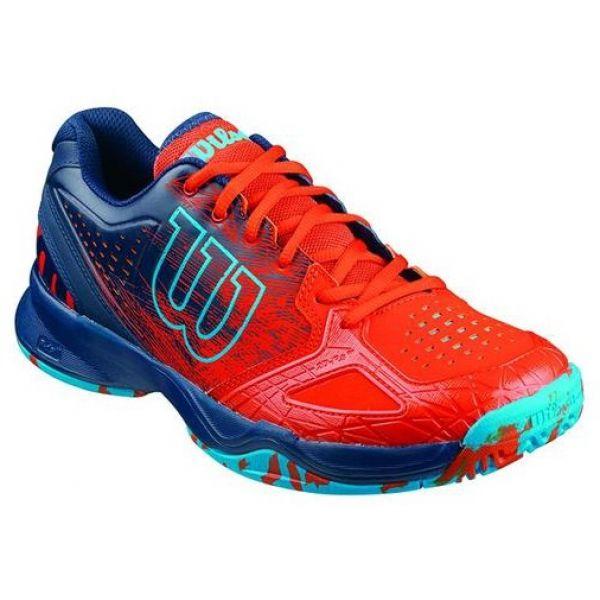 Wilson Men's Kaos Comp Tennis Shoes (Red/ Navy/ Aqua)