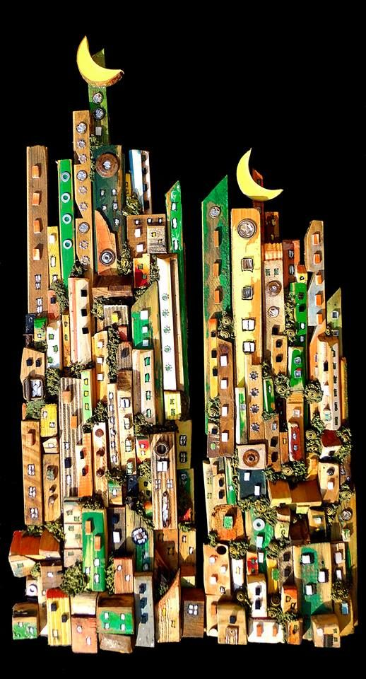 #cities in recovered wood see more on my FB page https://www.facebook.com/pages/Silvia-Logi-Artworks/121475337893535?fref=photo