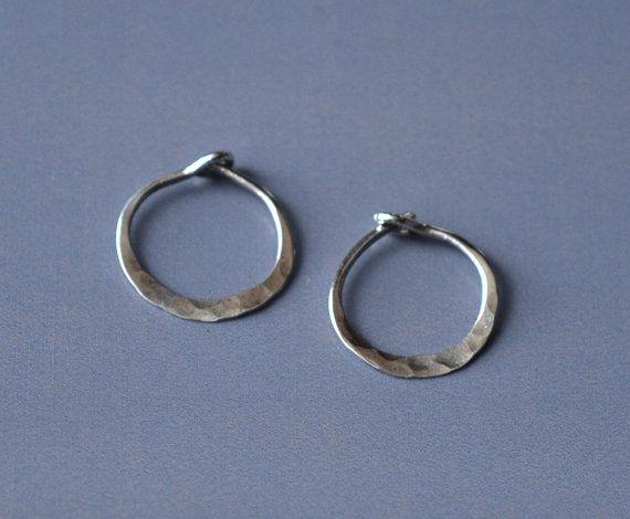 Tiny Silver Hoop Earrings 10 Mm Hammered Hoops Mini Sterling Earings Huggies Small Sleepers 10mm