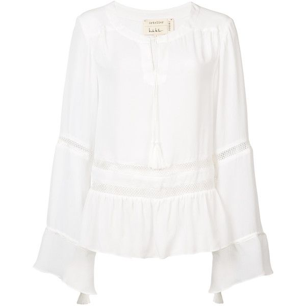 Nicole Miller long sleeve blouse ($165) ❤ liked on Polyvore featuring tops, blouses, white, white peplum blouse, long sleeve blouse, lace up blouse, lace-up tops and silk blouse