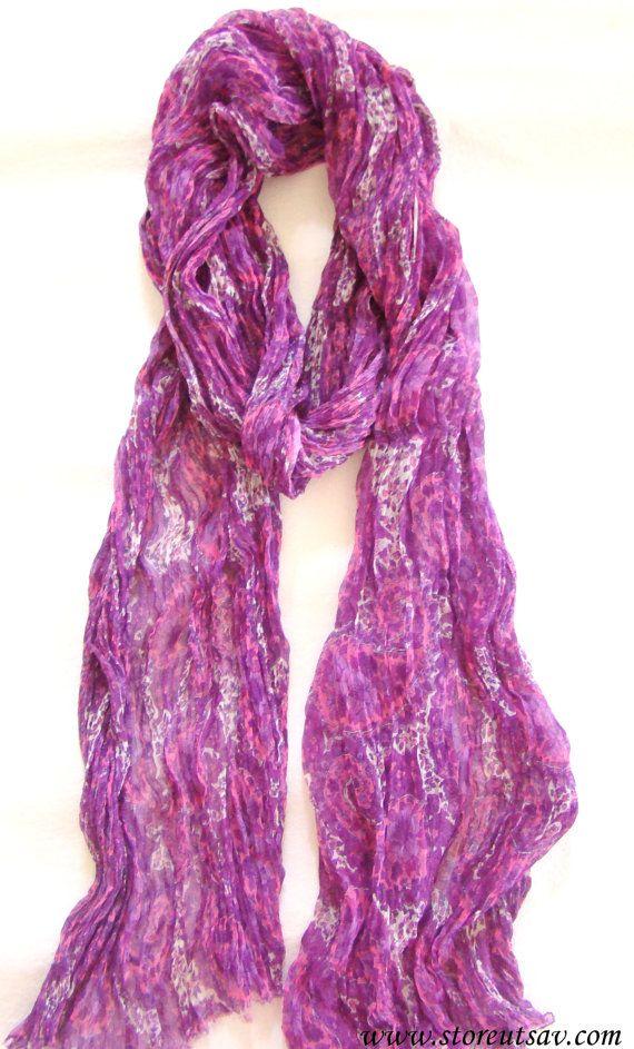 Scarf Stole Crepe Chiffon Purple Paisley Hand by StoreUtsavFashion