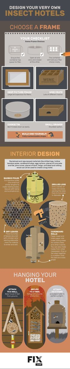 Beneficial insects help you control pests and pollinate flowers. Creating an insect hotel is a good way in increase the chances these insects will pay you a visit and help create a more balanced ecosystem in your garden!