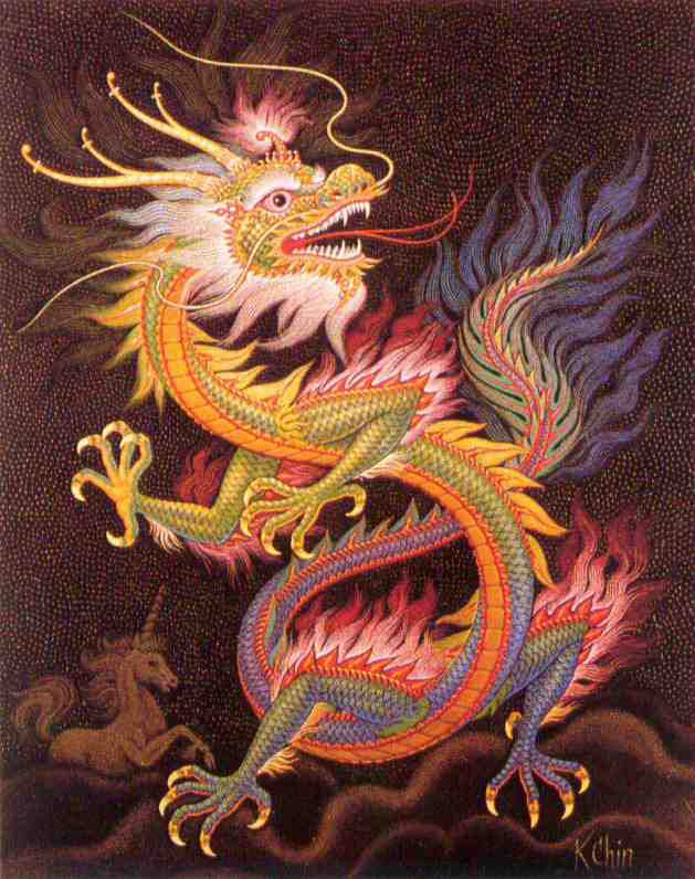 """The Spiritual dragon [shen-lung/literally """"spirit dragon""""] controls the weather- the wind and rain. A special rank of these dragons is known as Imperial Dragons that have five toes."""