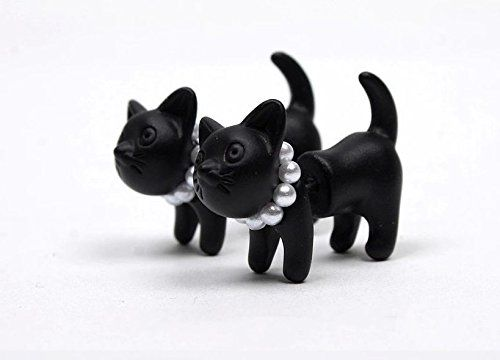 Amazon.com: 1 Pair Women Black White Punk Cool Simple Cute Cat Kitten Lady Stud Earring Animal Earrings: Sports & Outdoors