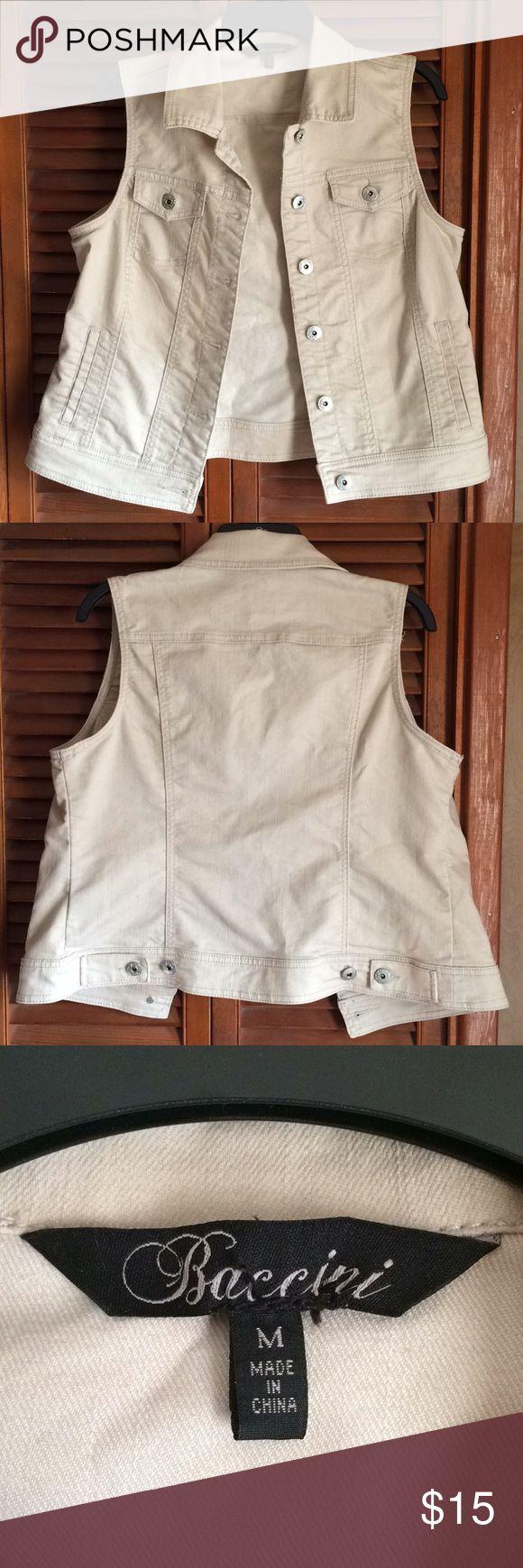 🔅 Sleeveless Denim Jacket Beige/white colored denim jacket! Baccini Jackets & Coats Jean Jackets