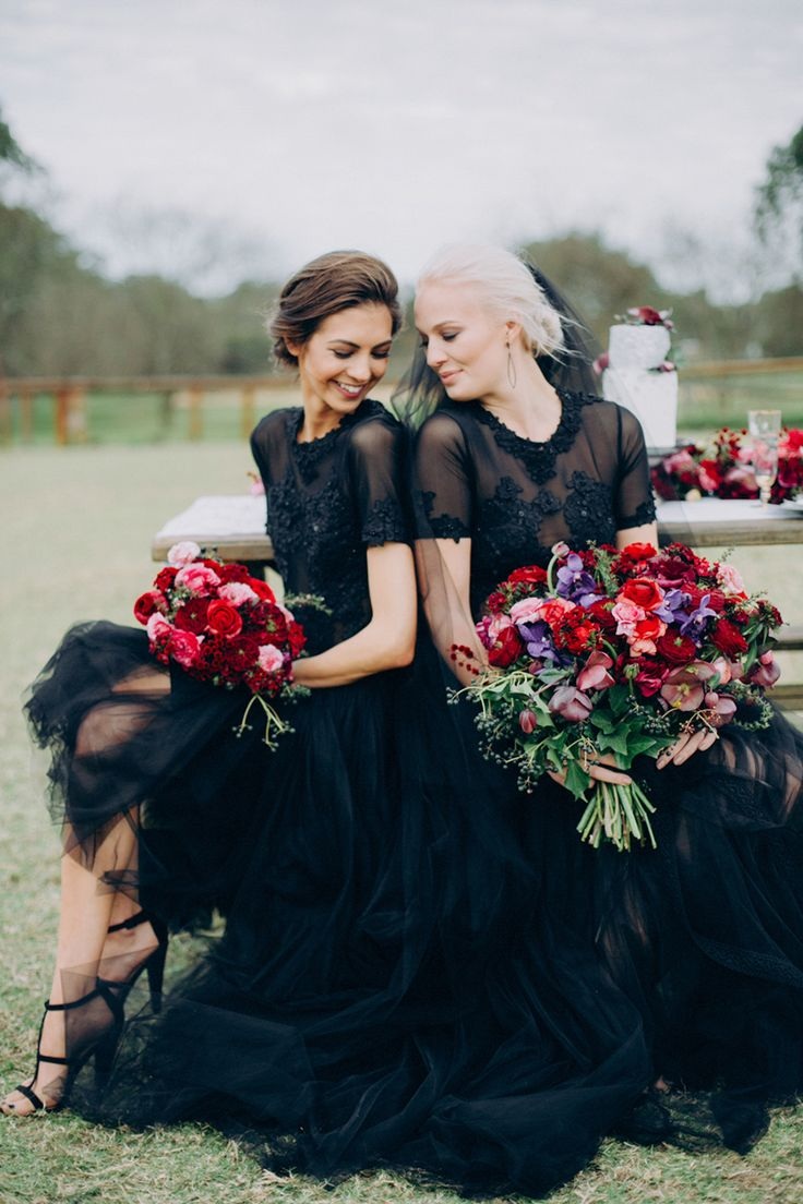 Black wedding gowns contrasted with bright pops of color // Black Tie and Berry-Toned Styled Shoot on a Cuddly Animal Farm