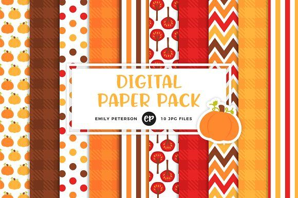 Pumpkin Patch Digital Papers by Emily Peterson Studio on @creativemarket Perfect for product design, gift wrapping, crafts, room decor, invitations, greeting cards, tags, labels and so much more. **Affiliate Link**