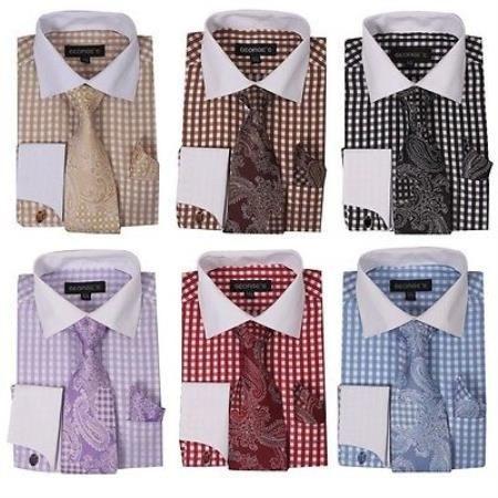 Blanco Collar y Bofetada Comprobar Diseño Vestir Camisa y Corbata