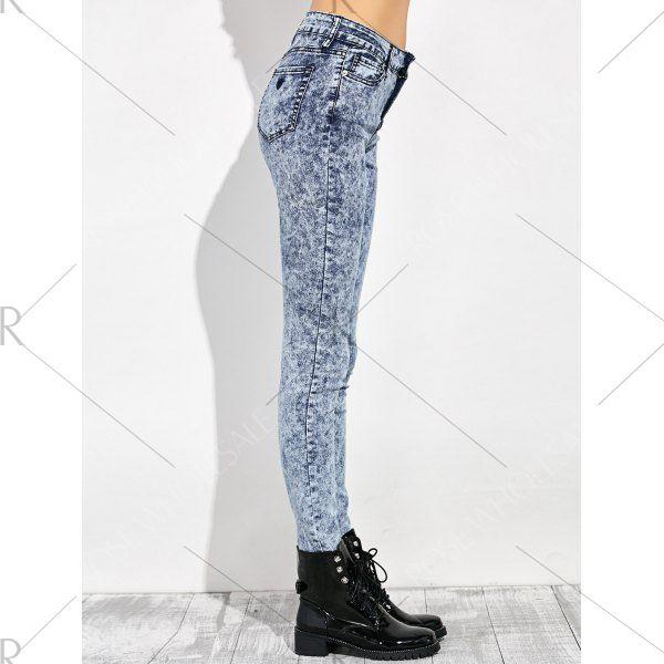 Al por Mayor 27 Azul Gris Pantalones Mezclilla Alta Cintura Lavado con Ácido Compra Pantalones Barato en Línea.