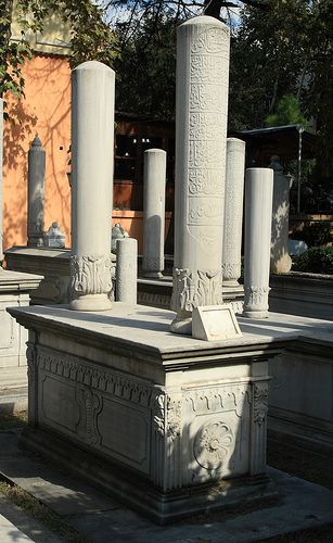 Odd looking tombstones in a cemetery in old Istanbul