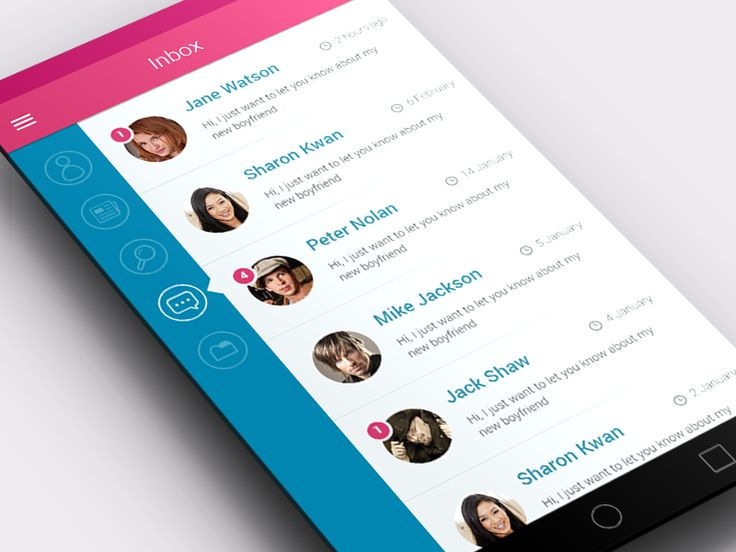 Just an Android app prototype of simple sidebar menu with selected messenger option.