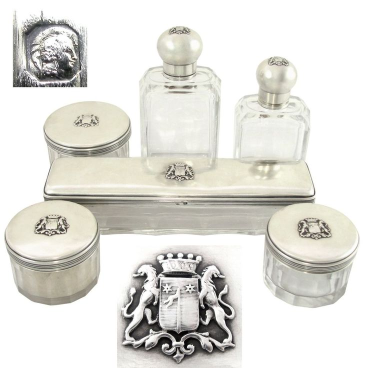 6pc Antique French Sterling Silver U0026 Cut Glass Armorial Coat Of Arms Vanity  Dressing Table Set