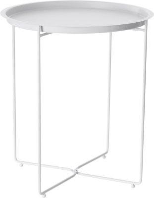 Valkoinen, metallinen sivupöytä