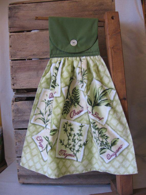 Herb Kitchen Tea Towel Green Kitchen Tea Towel by SnowNoseCrafts, $6.00