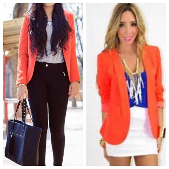 how to wear an orange blazer