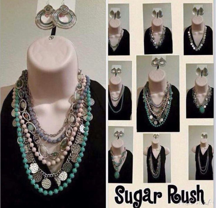 One Necklace, 9+ ways Premier Designs Sugar Rush #pdstyle #premierdesigns Find me On Facebook! Andrea Maddox 706-401-7102 Your Georgia Jeweler :)