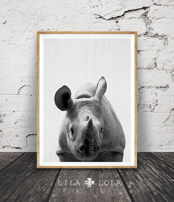 Rhino Wall Art Print, Safari Black White and Grey Nursery Decor, Modern Minimalist Printable Instant Download, Peekaboo Animals by Lila and Lola.