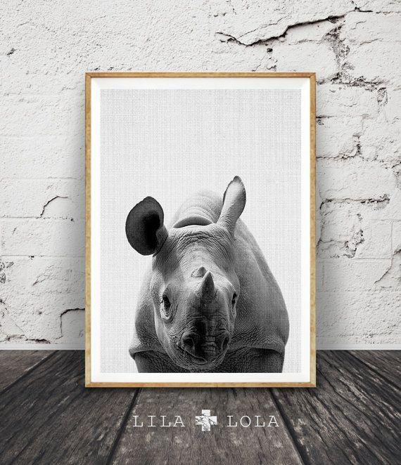 Rhino Wall Art Print, Safari Black White and Grey Nursery Decor, Modern Minimalist Printable Instant Download, Peekaboo Animals by Lila and Lola.