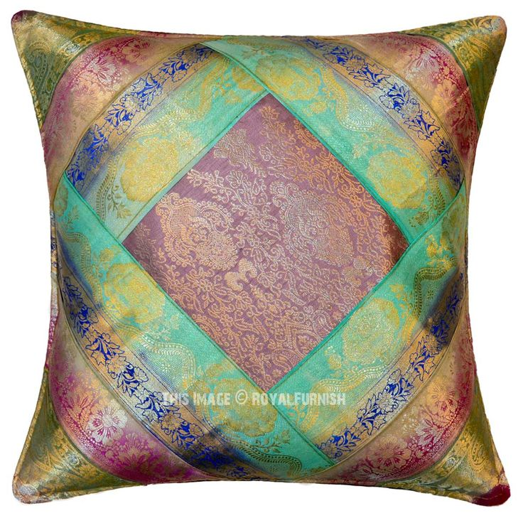 Multi Colorful One-Of-A-Kind Unique Vintage Silk Sari Pillow Case 16x16 on RoyalFurnish.com, $9.99