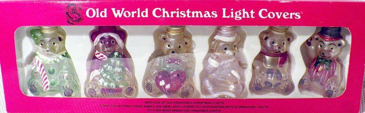 Merck Old World Christmas Glass Light Covers Set 6 Teddy Bear Ornaments USA Made