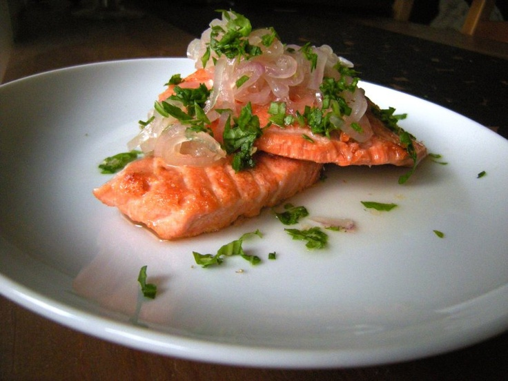 Wild King Salmon Paillard with Sweet-and-Sour Shallots