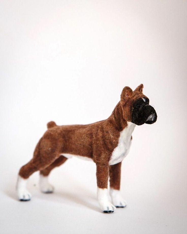 "Dollhouse Miniature Boxer Dog 3"" Fur Artist Made OOAK Dog"