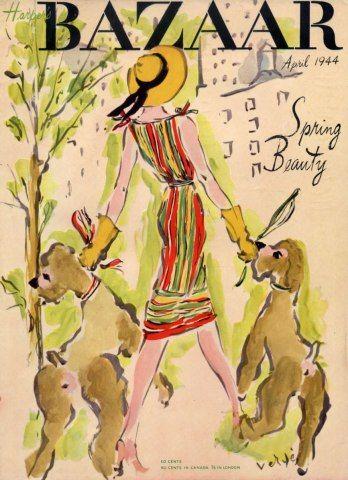 Harper's Bazaar, April 1944. Illustration: Marcel Vertes.