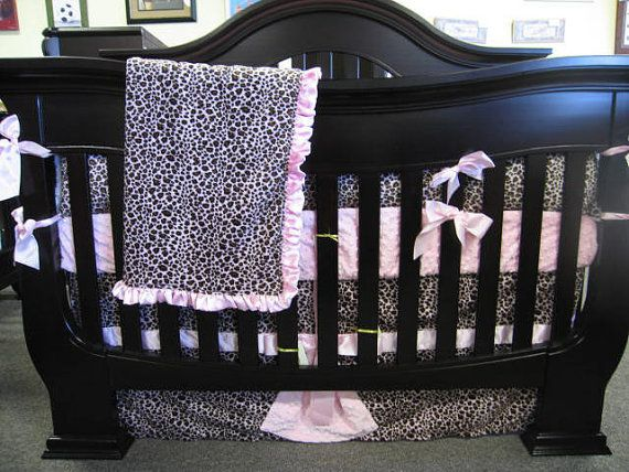 Pink Leopard Baby Bedding Set 4 Piece Crib Bedding by Shopextras, $290.00