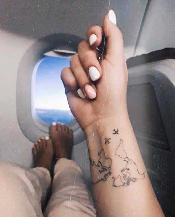 World Map Tattoo / Airplane Flash Tattoo / Wrist Tattoo for Travelers … #flash #plane #handle #tattoo #tattoo