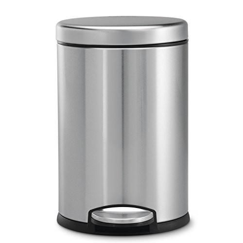 Simplehuman Mini Round Step Trash Can Stainless Steel 4 5 L 1 2 Gal Trash Can Kitchen Trash Cans Brushed Stainless Steel Small stainless steel trash can
