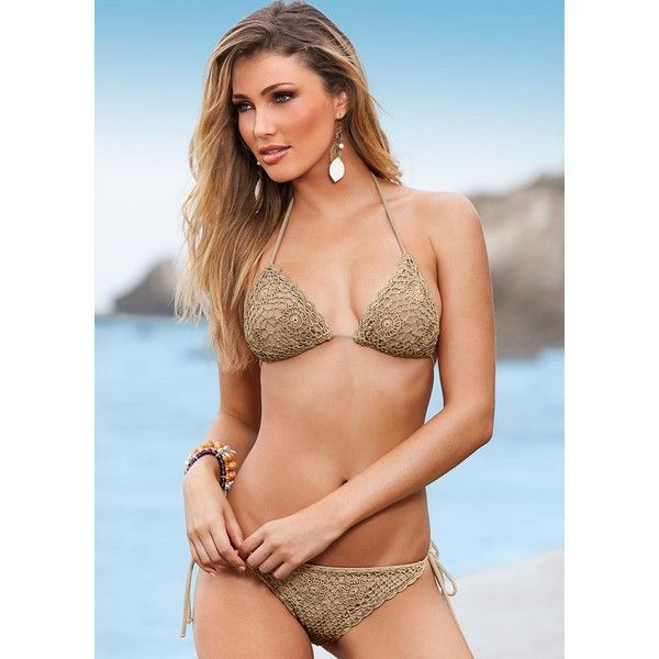 Venus Women's Crochet Triangle Bikini Tops (33 AUD) ❤ liked on Polyvore featuring swimwear, bikinis, bikini tops, neutral, tie back tankini top, crochet triangle bikini, crochet swimsuit top, crochet bikini and swimsuit tops