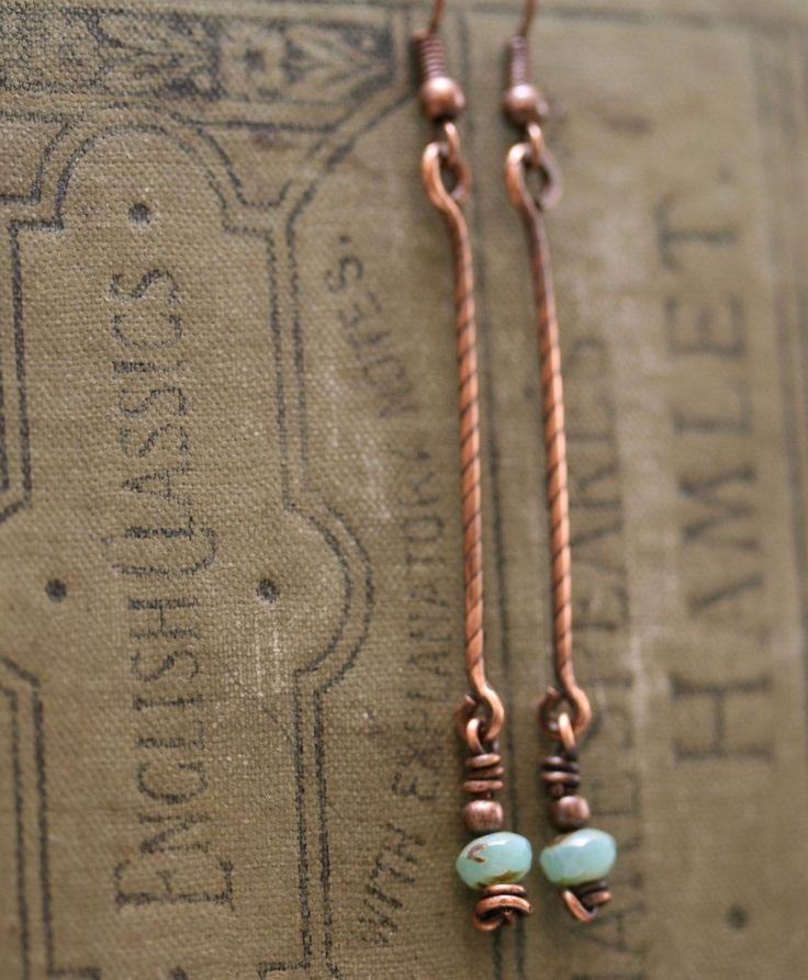 Copper Link Dangle Earrings,Copper Earrings,Copper Link Blue Green Bead Earrings,Copper Links beads green-blue bead dangle Earrings (#1562) by TwistdbyDesign on Etsy