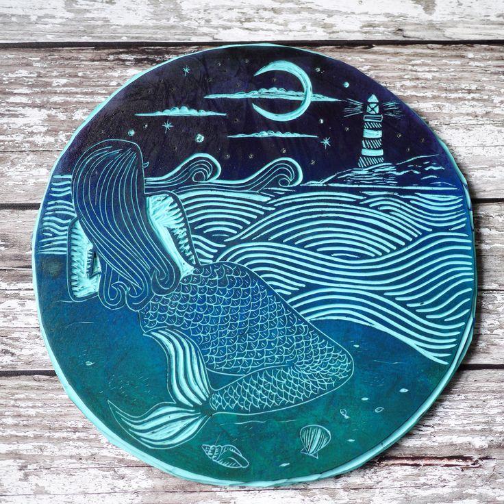 Lino cut Lino print mermaid work in progress