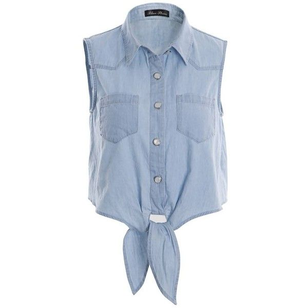 Bow Denim Blue Sleeveless POLO Collar Blouse (115 SAR) ❤ liked on Polyvore featuring tops, blouses, shirts, crop tops, blue, blue polo shirt, blue blouse, blue top, sleeveless denim shirt and sleeveless tops
