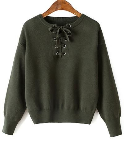 Con cordones de cuello redondo suéter manga larga