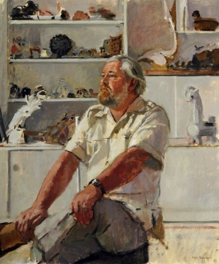 "Gerald Durrell (1925–1995) 1980, by Ken Howard. Gerald ""Gerry"" Malcolm Durrell, OBE was a naturalist, zookeeper, conservationist, author and television presenter. For this portrait he sat in The Flat at Les Augrès Manor, which is in the heart of the wildlife park of the Durrell Wildlife Conservation Trust in Jersey. He is pictured in front of his collection of animal sculptures, carvings and ceramics. Picture: © the artist/Bridgeman Art Library"