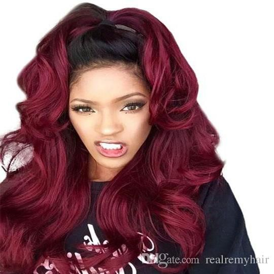 Brazilian Ombre 1B/99J Red Body Wave Human Hair 3 Bundles Unprocessed Colored Two Tone Burgundy Virgin Human Hair Weaves Extensions