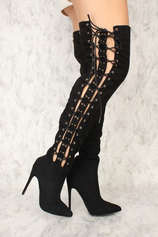 d780eaada3c7 You can never go wrong with a pair of thigh high boots. The featuring  includes a bold color with a faux suede fabric