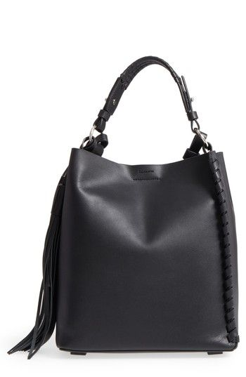 ALLSAINTS KEPI LEATHER SHOULDER BAG - BLACK. #allsaints #bags #shoulder bags #leather #