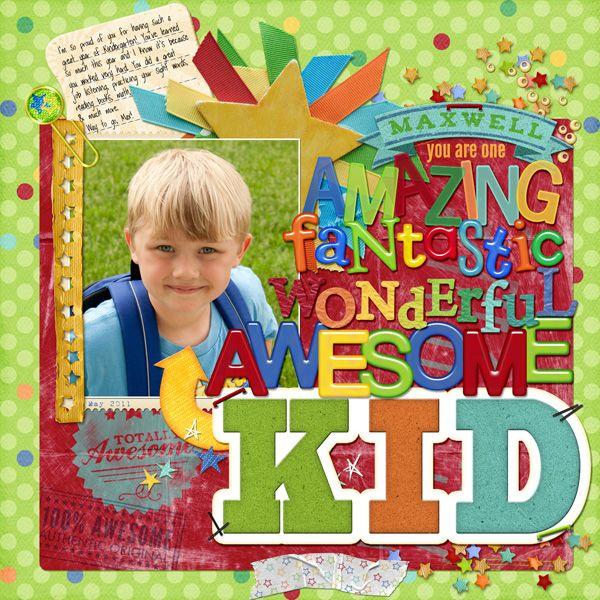 """Awesome Kid"" Digital Scrapbooking Layout by Amanda McGee"