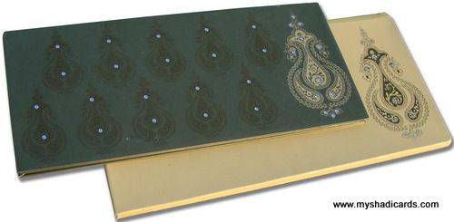 A fancy scented invitation made from metallic card with self imprints all over. The self imprints and the kundan work over it looks simply awesome.